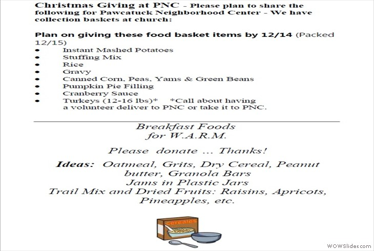 14DEC2018 PNC-WARM needed items