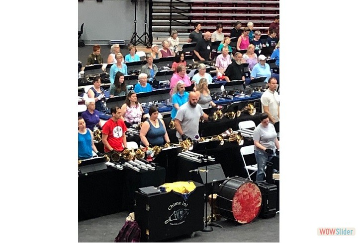 2019 Area 1  Handbell Festival Conference at University of  Hartford.  Most of us Practicing