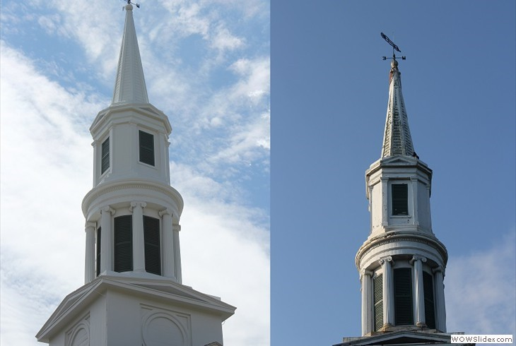 The steeple  before-after