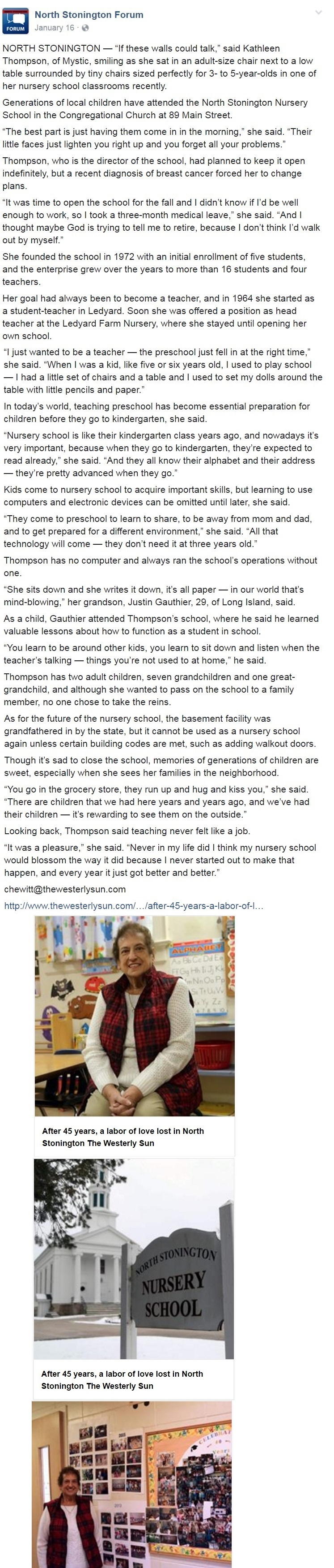 The North Stonington Nursery School Closed Kathleen S Thompson May 6th 1939 5th 2017 Director For 45 Years
